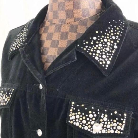 Quacker Factory Jackets & Blazers - 🌺4/$20 Velvet Rhinestone Studded Black Shirt Coat